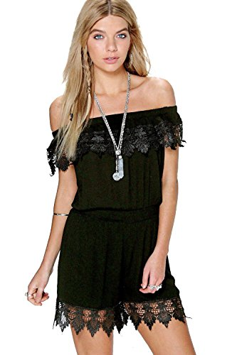 Noir Sally Off The Shoulder Crochet Playsuit Noir