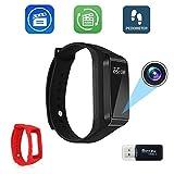 Bysameyee Smart Bracelet Cámara de grabación de video, HD 1080P Mini DVR Watch Cam con pasos de seguimiento - 2 pulsera ajustable