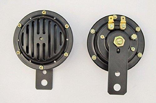 Paar HORN schwarz Grill Für alle 2-Rad Fahrzeug, Motorroller, Motorrad, 12 Volt, -14000302 (Lite Schwarz Räder)