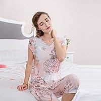 YTNGA Pijamas De Mujer Conjuntos de Pijama Elegante para mujerCamiseta de Manga Corta y Pantalones Largos hasta la Pantorrilla Vestido de Dormir con Estampado de Damas, como Imagen, L