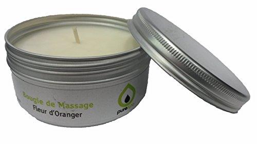 Candela di Massaggio fiori d' arancio, Cera 100% Vegetale, 80g, ofre (Fleur Candela)