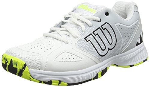 WILSON Kaos Devo Wrs323930 Scarpe da Tennis Uomo, Bianco (White/Pearl Blue/Safety Yellow 000) 48 EU