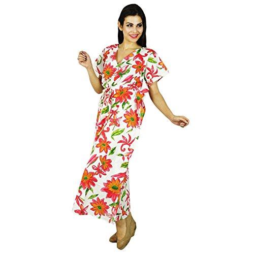 Phagun Caftan Robe Imprimée Maxi Vêtement De Nuitlongues En Coton Bohemian Blanc Et Rouge