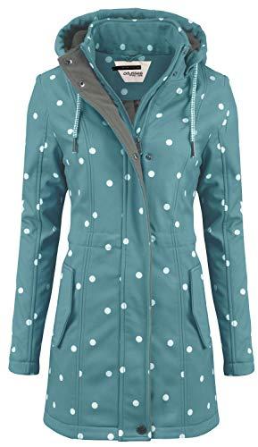 ODYSSEE Damen Softshell Mantel gepunktet Parka Jacke Kapuze Outdoor Übergang, Größe:L, Farbe:Mint grün