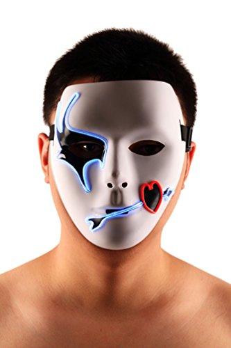 Brinny EL Wire Drahtmaske Leuchten Maske LED Leucht Leuchtmaske Make Up Partymaske mit Batterie Box Kostüme Mask Weihnachten Tanzen Party Nacht Pub Bar Klub (Up Make Kostüm Guy)