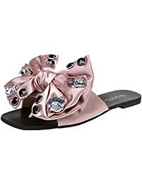 SHINIK Zapatos de mujer Tela Verano Comodidad Zapatillas y chanclas Zapatos para caminar Punta abierta Bowknot...
