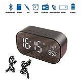 Radio Wecker mit Bluetooth Lautsprecher, LED Spiegel Uhr für Schlaf zimmer mit Thermometer, Dimmbare LED Anzeige, Dual Alarm mit Snooze, TF-Kartensteckplatz, FM Radio/AUX IN (schwarz)