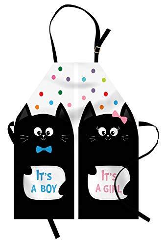Abakuhaus Geschlecht offenbaren Kochschürze, Es ist EIN Junge Karten mit Katzen Little Baby Cute Kitty Tupfen Funny Print, Farbfest Höhenverstellbar Waschbar Klarer Digitaldruck, Mehrfarbig
