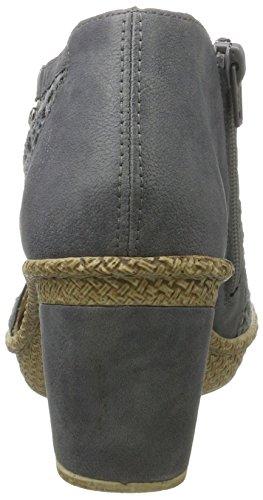 Rieker Damen 66578 Offene Sandalen mit Keilabsatz Blau (jeans/azur/altsilber / 15)