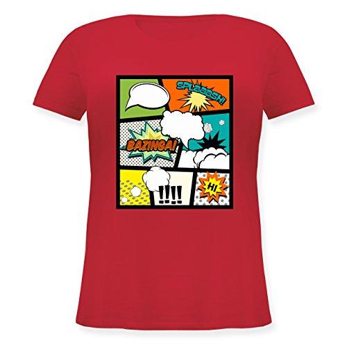 Comic Shirts - Comic Buchseite - S (44) - Rot - JHK601 - Lockeres Damen-Shirt in großen Größen mit Rundhalsausschnitt -
