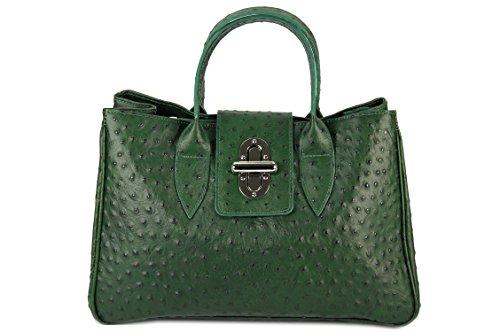BELLI ital. Echt Leder Handtasche Henkeltasche grün strauss Prägung - 36x25x18 cm (B x H x T) (Handtasche Prägung Leder)