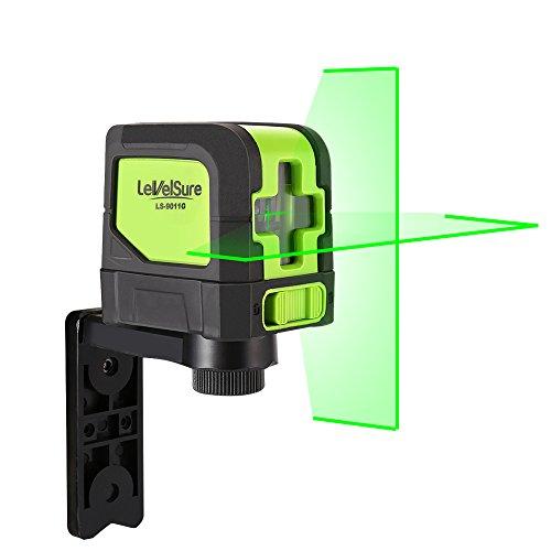 DIY Kreuzlinienlaser mit günem Laserstrahl - LEVELSURE 9011G geräuschloser Kreuzlinienlaser, horizontale und vertikale Selbstnivellierung (schwenkbarer Magnetfuß, Zieltafel, 2x AA Batterien)