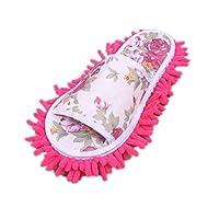 Koly® Women Dust Mop Slippers Socks Microfiber House Slippers Bedroom Shoes (Hot Pink)