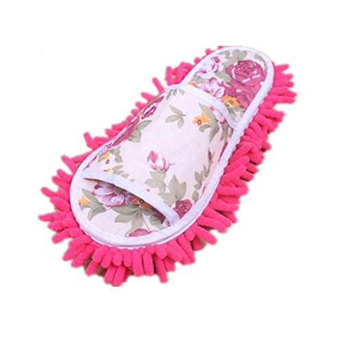 kolyr-women-dust-mop-slippers-socks-microfiber-house-slippers-bedroom-shoes-hot-pink