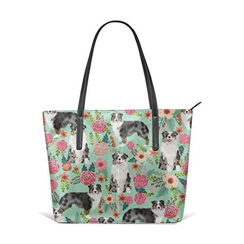 Frauen weiches Leder Tote Umhängetasche Aussie Dog Floral Best Blue Merle Hunde Australian Shepherd Dogs Aussie Dog Fashion Handtaschen Satchel Purse