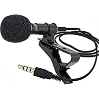 Generic collar mic clip with long cable for mobile,Youtube videos, vlog,DSLR camera,etc (black) Noise Cancellation
