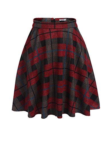 Unibelle Damen Kariert Rock Herbst Winter Baumwolle Damen Kurzer Faltenrock Minirock Schulmädchen-Stil Röcke Rot-Braun S