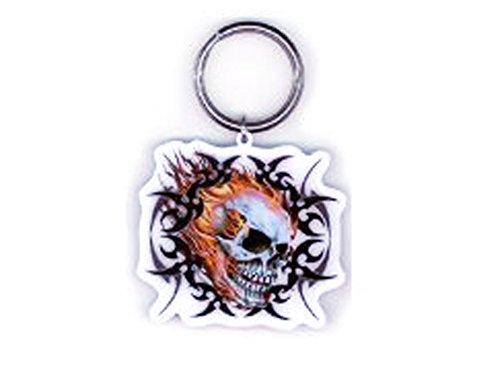 "Hot Leathers - Artwork Design Flaming Skull Biker - High Quality Metal Premium Portachiavi Keychain - 2.5"" x 2"""