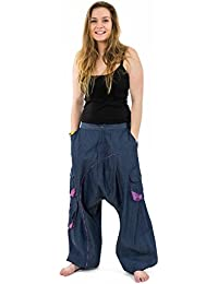 - Sarouel baggy femme urban ethnic blue jean denim et violet Sikha -