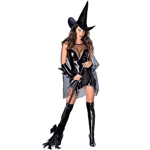 Halloween Böse Deluxe Damen Hexe Fairytale Cosplay Kostüm Mit Hut (Farbe : A, Size : M) (Deluxe Bösen Kostüm)