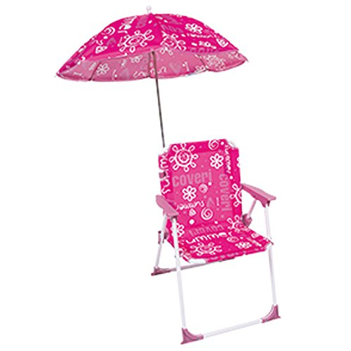 Bakaji sedia regista per bambini pieghevole mare con ombrellone baby per mare spiaggia piscina 37x25x52cm (rosa)