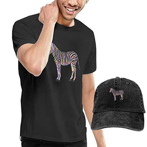 SOTTK Herren Kurzarmshirt Zebra Colorful Men's Short Sleeve T Shirt & Washed Adjustable Baseball Cap Hat