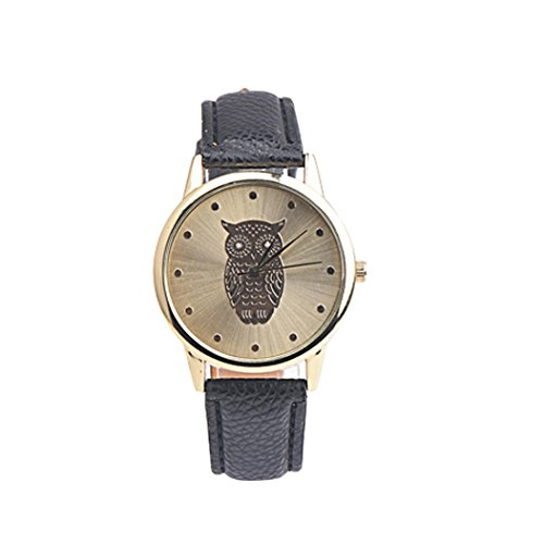 Reloj retro HARRYSTORE Reloj de pulsera de cuero de diseño de búho Reloj de pulsera de aleación analógica de cuarzo (Negro)