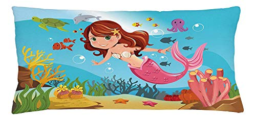 Trsdshorts Underwater Throw Pillow Cushion Cover, Fairy Mermaid Swimming Underwater in The Ocean Smiles Cheerful Happiness Theme, Decorative Square Accent Pillow Case, 18 X 18 Inches
