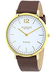 MADISON NEW YORK Unisex-Armbanduhr Avenue Analog Quarz Leder G4741E2
