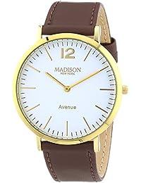 MADISON NEW YORK Unisex-Armbanduhr Avenue Analog Quarz Leder G4741E2