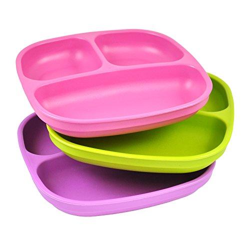 Re-Play, Kinderteller unterteilt Set, 3 Stück | BPA-frei | Stabiles Kindergeschirr | nachhaltig durch Recyclingmaterial | (Purple)
