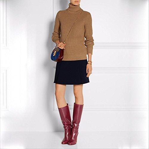 Elegant high shoes Botas de Mujer Stiletto Heel Round Toe Knee High PU Cuero Sintético Otoño Invierno Confort Novedad