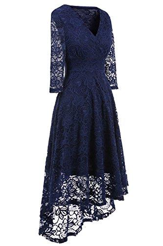 NALATI Damen Spitzenkleid V-Ausschnitt 3/4 Ärmel Vintage Partykleid Asymmetrisch Festlich Abendkleider lang Brautjungfern Kleid Dunkelblau