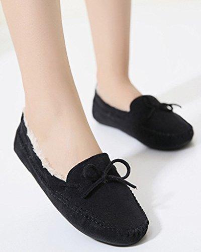 Minetom Femmes Hiver Mocassins Pantoufles Chaud Pois Chaussures Bottes Plates Avec Bowknot Loafers Chaussures Noir