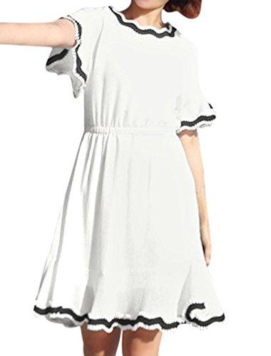 sourcingmap Femme Découpée Cou Couleur De Contraste Papillon Manche Robe Courte Blanc