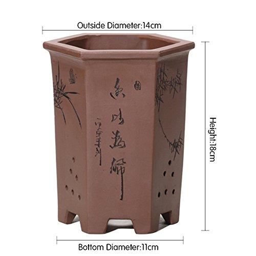 flower pot Nclon Style Chinois Fleur Pots Indoor Décoration,Revêtement Céramique Les Orchidées Pot De Fleur Chlorophytum Plante Verte Table Carré Bonsaï-b