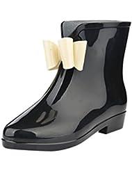 LvRao Botines de Lluvia Impermeable el Tacón Alto de las Mujeres Botas de Goma Zapatos de Agua