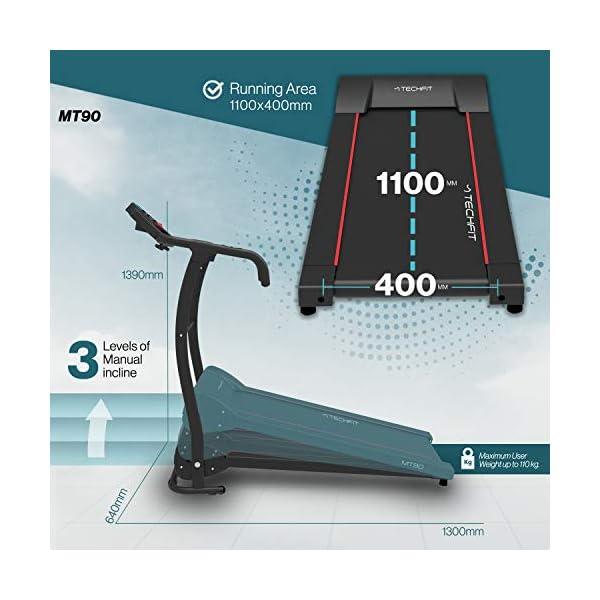 TechFit MT90 Tapis Roulant Elettrico Motorizzato Pieghevole, 2.5 HP, Superficie di Corsa 1000x 360mm, Filtro EMC… 4 spesavip