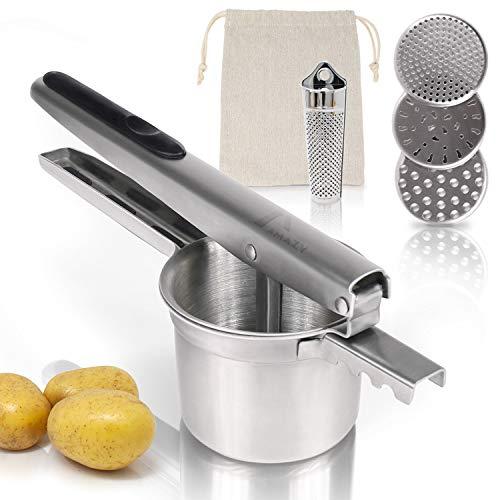Amazy Kartoffelpresse inkl. 3 Siebeinsätze, Muskatreibe und Kartoffelsack - Spülmaschinenfeste Presse aus Edelstahl für die Zubereitung von Kartoffelpüree, Klößen, Gnocchi & Co. (rund)