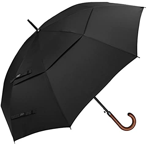G4Free 50 Inch Automatic Open Classic Umbrella Double Canopy Vented Windproof Large Stick Umbrellas with Wooden Crook Handle