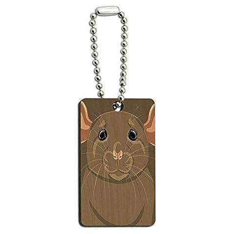 Rat Dumbo Fancy Gris–PET Souris en bois rectangle Clé chaîne