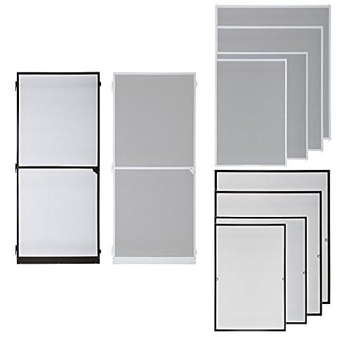 Fliegengitter für Fenster oder Tür - viele Modelle wählbar Alu Rahmen -braun, weiß, 80x120, 90x210, 100x120, 120x140, 120x240, 130x150, Insektenschutz Tür Fenster Alurahmen Fliegenschutz Mückenschutz (Tür 90 x 210 cm,