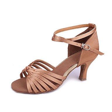 Silence @ pour femme satiné Seven Stripe Croix Danse Chaussures Sandales pour latine/salle de bal noir
