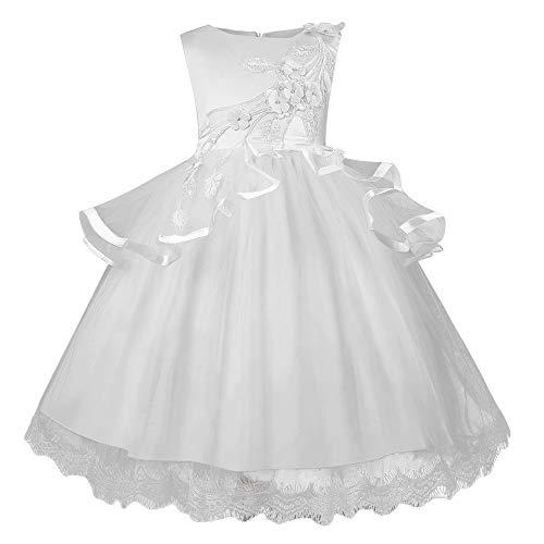 Beikoard Kleinkind Kinder Baby Mädchen Santa Print Prinzessin Kleid Weihnachten Outfits Weihnachtsmann Schneemann Party Abendkleid Brautjungfer Kleider (Weiß-3, 120)