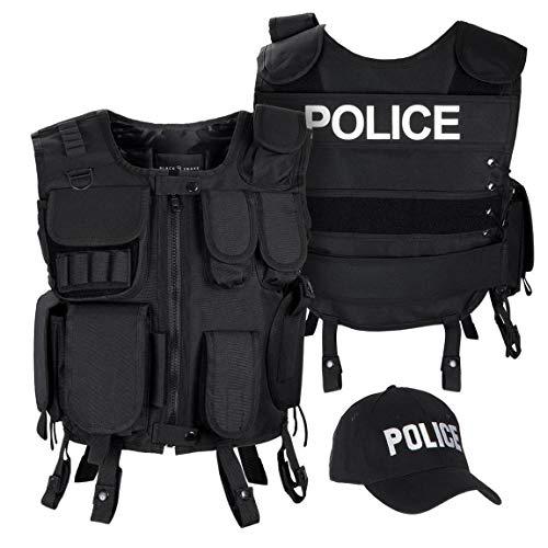 Black Snake SWAT FBI Security Police Agenten Kostüm Einsatzweste und Baseball Cap - M/L - Police
