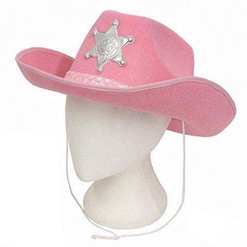 Damen Rosa Eva Cowboy-Hut mit (Mädchen Kostüm Für Damen Rosa)