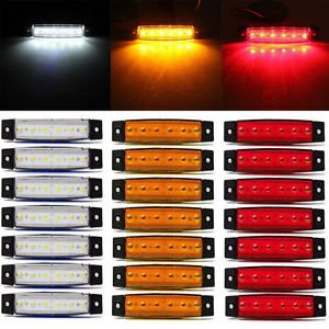 MG Universal 30Pcs 6LED 12V Truck Trailer Side Marker Indicators Light Lamp White+Amber+Red