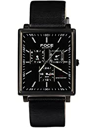 FOCE Black Square Analog Wrist Watch for Men with Black Genuine Leather Strap - F722GBL-BLACK