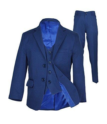 Drei-tasten-hose (Italian Schnitt Jungen Parlament blau Anzug, Seite Junge Hochzeit Ball Kommunion Jungen Anzüge - Parlament Blau 3 Teile, 122)