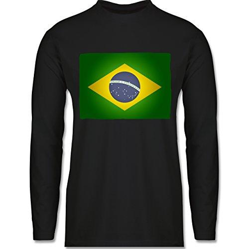 Shirtracer Länder - Flagge Brasilien - Herren Langarmshirt Schwarz